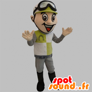 Mascote jockey com um capacete e óculos de proteção - MASFR031888 - mascote esportes