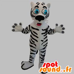Maskotti musta ja valkoinen tiikeri siniset silmät - MASFR031889 - Tiger Maskotteja