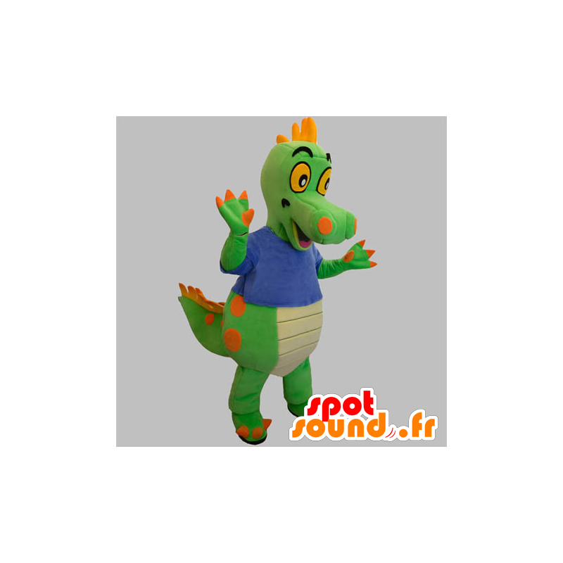 Grønn og oransje dinosaur maskot med en blå skjorte - MASFR031890 - Dinosaur Mascot