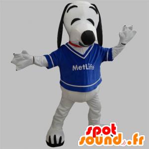 Mascotte de chien blanc et noir. Mascotte de Snoopy