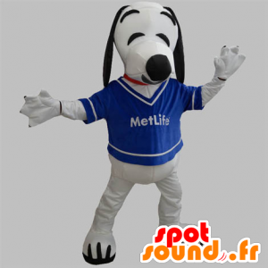 Mascot van zwarte en witte hond. Snoopy mascotte