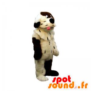 Maskotti koira valkoinen ja ruskea, pehmeä ja karvainen - MASFR031892 - koira Maskotteja