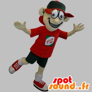 Mascotte de livreur de pizza. Mascotte d'adolescent - MASFR031895 - Mascottes Pizza