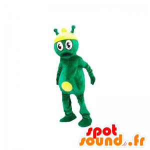 Buitenaardse mascotte, groen en geel alien - MASFR031896 - uitgestorven dieren Mascottes