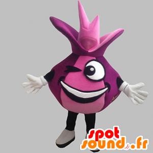 Mascot cebolla roja y gigante divertido. la mascota de color rosa - MASFR031898 - Mascota de verduras