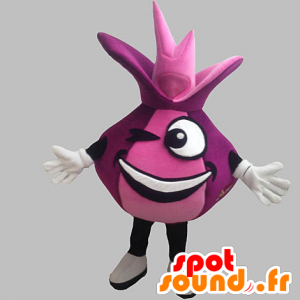 Mascot red onion and giant funny. pink mascot - MASFR031898 - Mascot of vegetables