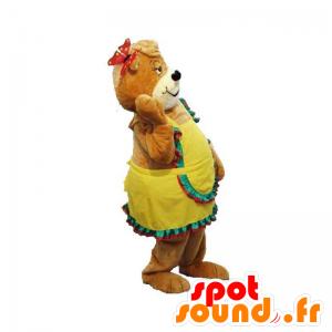 Brown teddy mascot with a yellow dress - MASFR031899 - Bear mascot