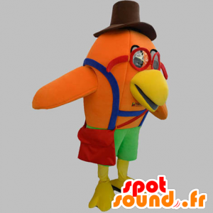 Orange bird mascot with glasses and a hat - MASFR031902 - Mascot of birds