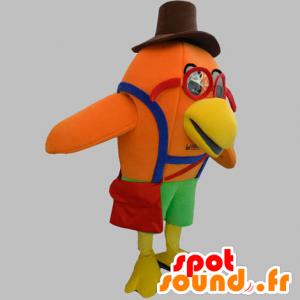 Orange fuglemaskot med briller og hat - Spotsound maskot kostume