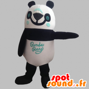La mascota de la panda negro, blanco y azul, sonriente - MASFR031904 - Mascota de los pandas