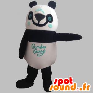 Mascotte de panda noir, blanc et bleu, souriant - MASFR031904 - Mascotte de pandas