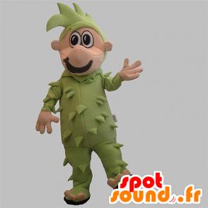 Sneeuwman mascotte gekleed in groen met groen haar - MASFR031910 - man Mascottes