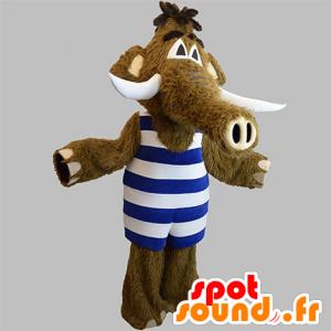 Mascotte de mammouth marron avec une tenue à rayures - MASFR031912 - Mascottes animaux disparus