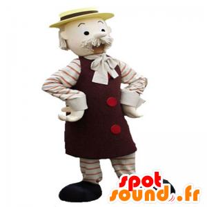 Baffuto mascotte vecchio uomo con un cappello giallo - MASFR031913 - Umani mascotte