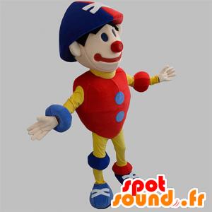 Clown mascotte, kleurrijke sneeuwman, rood, blauw en geel