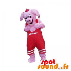 Pink pig mascot with a red overalls - MASFR031919 - Mascots pig