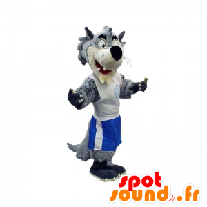 Gray and white wolf mascot dressed in sportswear - MASFR031920 - Mascots Wolf