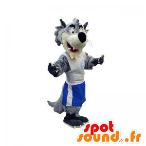 Grå og hvid ulvemaskot klædt i sportstøj - Spotsound maskot