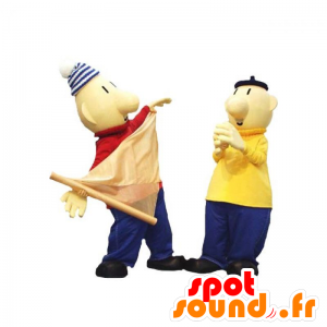 2 mascots Männer, Segler mit bunten Outfits - MASFR031923 - Menschliche Maskottchen