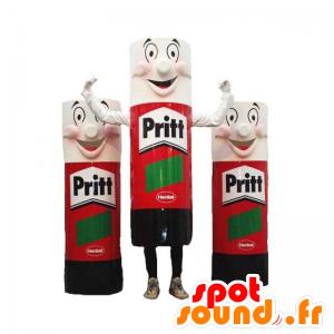 3 Maskottchen der riesigen Rohre von Leim, rot, schwarz und weiß - MASFR031928 - Maskottchen von Objekten