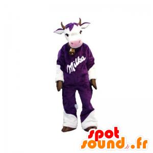 Mucca mascotte viola e bianco. mascotte Milka