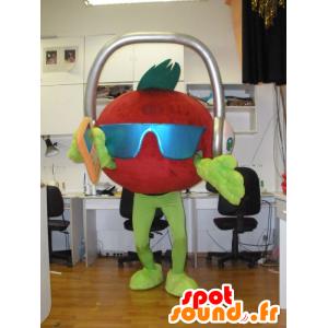 La mascota de tomate gigante con auriculares en la cabeza - MASFR031934 - Mascota de la fruta