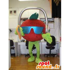 Giant Tomaat Mascot met een koptelefoon op het hoofd - MASFR031934 - fruit Mascot