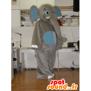 Mascot grauen und blauen Elefanten, Riesen - MASFR031938 - Elefant-Maskottchen
