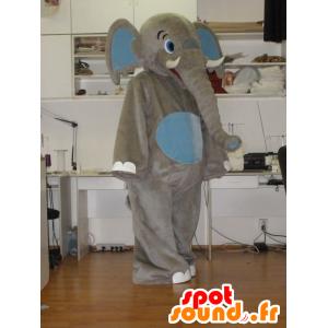 Mascotte grigio e blu elefante, gigante - MASFR031938 - Mascotte elefante