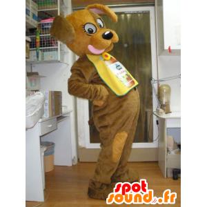 Brauner Hund Maskottchen, seine Zunge - MASFR031942 - Hund-Maskottchen