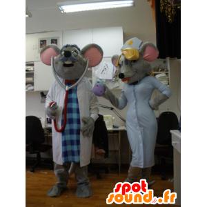 2 del mouse mascotte vestita medico e infermiere - MASFR031943 - Mascotte del mouse