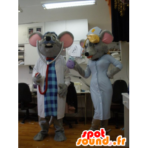 2 mouse dressed mascots doctor and nurse - MASFR031943 - Mouse mascot