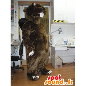 Mascot bruin en zwart bever, reuze - MASFR031945 - Beaver Mascot