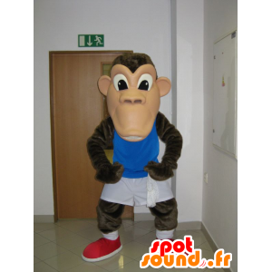 Monkey mascot, brown chimpanzee in sportswear - MASFR031948 - Mascots monkey
