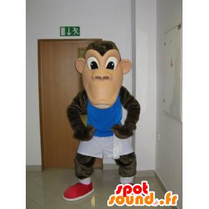 Scimmia mascotte, scimpanzé marrone in abbigliamento sportivo - MASFR031948 - Scimmia mascotte