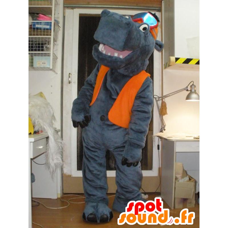 Mascot Bear with gray cap and a ski mask - MASFR031951 - Mascots hippopotamus
