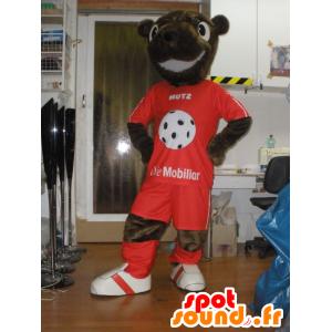 Castor mascota, peluche marrón en ropa deportiva - MASFR031961 - Oso mascota
