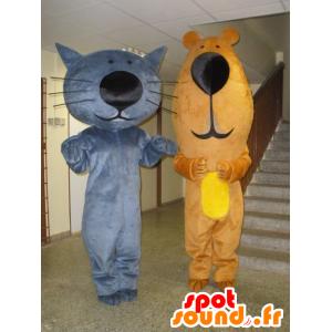 2 maskoter, en blå katt og en brunbjørn - MASFR031967 - bjørn Mascot