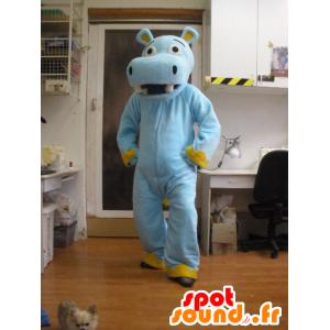 Blauw en geel nijlpaard mascotte