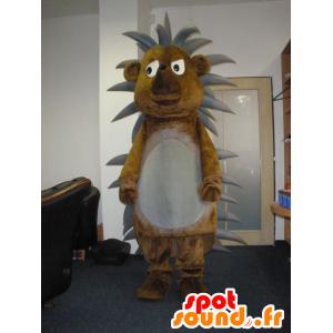 Mascotte marrone e grigio riccio, carino e divertente - MASFR031979 - Mascotte Hedgehog