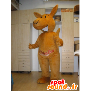 Orange kangaroo mascot, giant and smiling