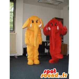 2 mascotte elefanti, rosso e giallo - MASFR031982 - Mascotte elefante