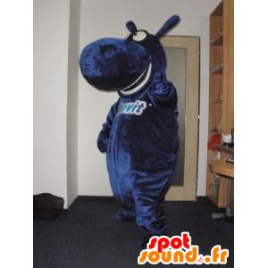 Mascote azul hipopótamo, gigante e divertido