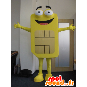 Sim card mascot yellow giant. phone mascot
