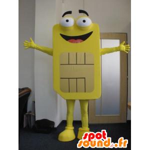 Mascotte de carte Sim jaune, géante. Mascotte de téléphonie - MASFR031989 - Mascottes de téléphones