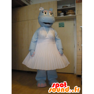 Azul mascota del hipopótamo vestida con un vestido blanco