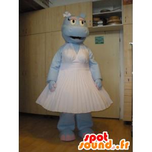 Mascote hipopótamo azul vestida em um vestido branco