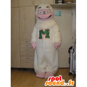 Mascot yeti hvit og rosa, moro - MASFR031996 - utdødde dyr Maskoter