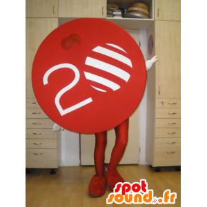 Maskottchen TV Nova. Runde rote Maskottchen - MASFR031997 - Maskottchen von Objekten