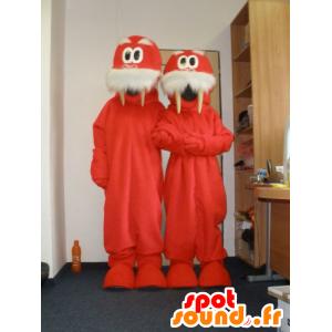 2 mascotes morsa vermelho e branco. 2 morsas
